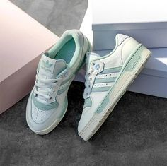 You Can Score These Adidas Sneakers With Soft Pastel Accents on Sale Cute Sneakers, Adidas Sneakers, Teal Accents, Sporty Look, Retail Therapy, Nike Air Force, Athlete, Positive News, Pastel
