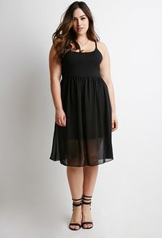 Fit & Flare Combo Dress | Forever 21 PLUS - 2000131278 Partially lined, knit & woven Adjustable spaghetti straps $15.90