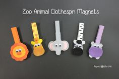Animal Clothespin Magnets Repeat Crafter Me: Zoo Animal Clothespin Magnets I think I may do these, but with buttons!Repeat Crafter Me: Zoo Animal Clothespin Magnets I think I may do these, but with buttons! Zoo Animal Crafts, Zoo Crafts, Craft Stick Crafts, Safari Party, Diy For Kids, Crafts For Kids, Arts And Crafts, Clothespin Magnets, Clothespins