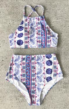 New Arrival is Coming~ Halter design, high-waisted fit, chic printing pattern and soft fabric. Touch it and you'll love it at once~ FREE SHIPPING. Check it out!