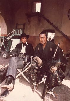 "Alain Delon, MIFUNE Toshiro 三船敏郎. ""Red Sun (Soleil rouge)"" 1971 directed by Terence Young. Behind the scenes photos. #cinema #film #Western"
