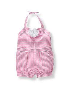 Just right for fun in the sun, our romper is crafted in airy seersucker with sweet stripes. Design features a grosgrain ribbon blossom, front pockets and piping. Girls Rompers, Girls Dresses, Teal Bird, Pink Stripes, Stripes Design, Roman Holiday, Ponte Pants, Janie And Jack, Seersucker