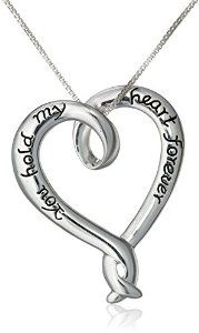 "Sterling Silver ""You Hold My Heart Forever"" Open Heart Pendant Necklace, 18""                          Amazon Prime Free Trial"