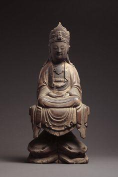 A Ming Wood Bodhisattva in Grandeur Look.
