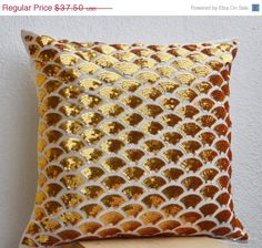 Valentine SALE Gold sequin pillow cover $33