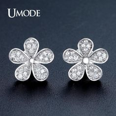 78419becbe7 UMODE Cute Flower Shape Stud Earrings for Women White Gold Color Jewelry  Fashion Blossom Boucle D