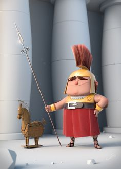 This character is my version of Ian Abando's trojan concept. I started the model with a fast concept in Zbrush, then I imported the model in Blender and prepared the scene. Character Modeling, Game Character, Character Concept, Concept Art, Character Reference, 3d Cartoon, Cartoon Styles, Cartoon Characters, Character Design Animation