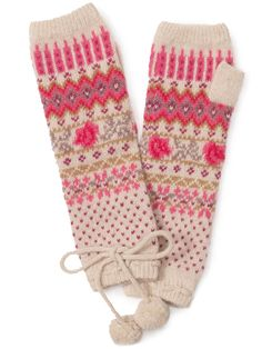 Pink fair isle fingerless gloves. Great cheerful pink motifs. Also I'm a sucker for a good pompom or two.