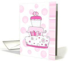 Pink Wedding Cake card