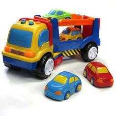 $39.99 - Get ready to transport some cars!• This eye-catching toy, ?Car Transporter? will help your little one polish their spatial skills while offering hours and hours of fun as they play with this cool toy auto trailer. Includes:• four little cars (wheels do roll)• one big track that stores them. • The truck?s parts move, so the child can drive the little cars into the lower or upper level! • The transporter also plays various traffic sounds if you press on colorful...