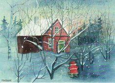 Leena Airikkala Winter Illustration, Gnomes, Christmas, Painting, Illustrations, Art, Xmas, Art Background, Painting Art