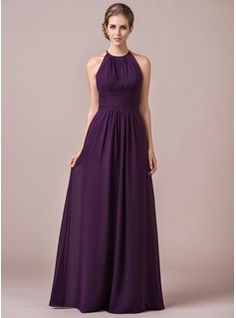 A-Line/Princess Halter Floor-Length Chiffon Bridesmaid Dress With Ruffle Lace (007054347) - JJsHouse