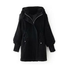 Hooded Self-tied Elastic Buttoned Black Coat #pariscoming your personal style online store. like it? buy now.