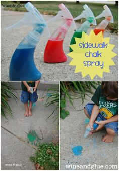 Sidewalk Chalk Spray | www.wineandglue.com | A really simple recipe made from household ingredients for loads of fun!