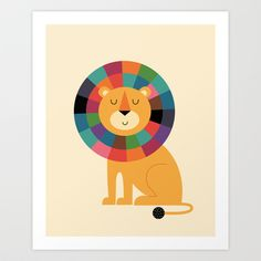 Art-Poster Wall Editions : Rainbow lion by Andy WestFace. Illustration for kid and baby. Print Format : 50 x 70 cm. Framed Art Prints, Canvas Prints, Canvas Artwork, Affordable Wall Art, Popular Art, Art Mural, Grafik Design, Folded Cards, Wall Tapestry