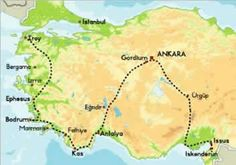 travel route map of turkey with route walked in alexander the greats footsteps