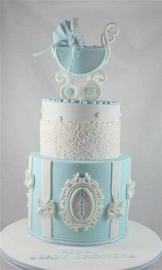 17 Beautiful Baby Shower Cakes To Lust Over Pretty Cakes, Cute Cakes, Beautiful Cakes, Amazing Cakes, Gateau Baby Shower, Baby Shower Cakes, Bolo Cake, Baby Boy Cakes, Beautiful Baby Shower
