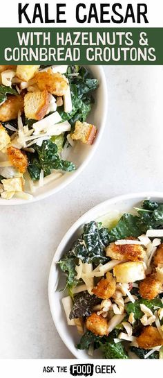 Salad recipes | Kale Caesar salad recipe with celery root and hazelnuts.  This healthy recipe boosts your immune system and can even be filling enough to have as a salad for dinner. via @AskTheFoodGeek