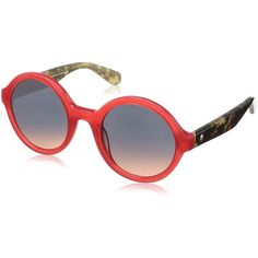 Kate Spade Women's Khrista/s Round Sunglasses, Red Havana Glitter/Blue... (4.835 RUB) ❤ liked on Polyvore featuring accessories, eyewear, sunglasses, red mirrored sunglasses, glitter sunglasses, round mirror sunglasses, red mirror sunglasses and red sunglasses