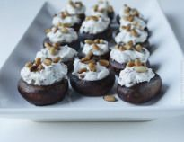 Stuffed Mushrooms with Pan Roasted Pine Nuts & Chives make a quick, easy and delicious appetizer! | www.tryanythingonceculinary.com | #stuffedmushrooms #panroastedpinenuts #chives #vegetarianappetizer