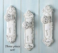 "set of 3 Doorknob with Hook will add beauty and functionality to a wall of your home. Hook on back. Resin. 2 1/4""L x 2""W x 8""H."