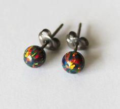 114dec9df Black fire opal stud earrings, 3mm, 4mm, 5mm, 6mm opal ball studs, Niobium  or Titanium earrings, hypoallergenic, small earrings, Cartilage