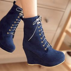 Sexy Women's High Heel Shoes Platform Wedge Heels Warm Fur Ankle Boots Lace ups
