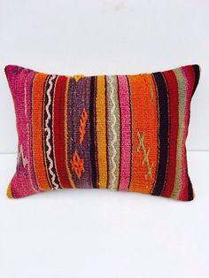 Colorful kilim pillow turkish cushion designer by KilimRugStore