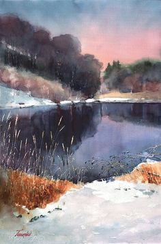 Watercolor landscapes painted on location and in studio Watercolor Landscape Paintings, Watercolor Trees, Watercolor Artists, Watercolor And Ink, Magical Forest, Pond, Waves, Mountains, Outdoor