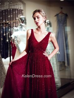 V-neck Burgundy A-line Long Prom Dresses with Beading Formal Dresses K – kelendress