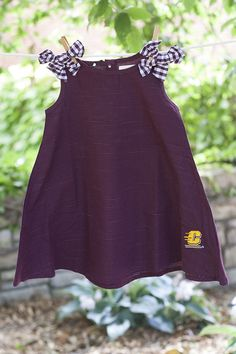 9e17ede00 Central Michigan Flying C Pindot Toddler Dress With Gingham Bows