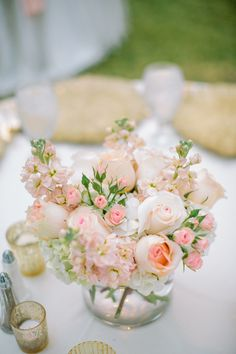 The Vault: Curated & Refined Wedding Inspiration - Style Me Pretty Pink Wedding Centerpieces, Small Centerpieces, Wedding Bouquets, Wedding Decorations, Centerpiece Ideas, Blush Centerpiece, Fishbowl Centerpiece, Silk Flower Centerpieces, Blush Weddings