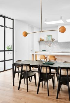 Black Kitchen Chairs, Black Dining Chairs, Dining Table Chairs, Dining Rooms, Timber Dining Table, 1940s Home, Dining Room Inspiration, Open Plan Kitchen, Kitchen Ideas