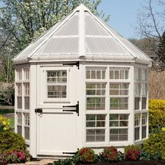 Little Cottage 8 x 8 ft. Octagon Greenhouse with Floor Kit - Fun, modern, and beautiful, the Little Cottage 8 x 8 ft. Octagon Greenhouse with Floor Kit is a great addition to any yard and perfect for any hobby g. Home Greenhouse, Small Greenhouse, Greenhouse Ideas, Greenhouse Frame, Aquaponics Greenhouse, Aquaponics Diy, Outdoor Greenhouse, Underground Greenhouse, Greenhouse Wedding