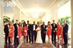 Great bridal party gathering in the Lobby of carolina inn