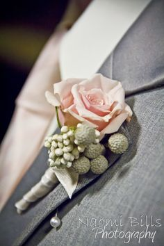 Blush pink and grey boutonniere