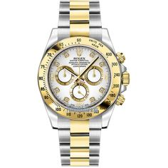 Rolex Cosmograph Daytona Stainless Steel and Yellow Gold 116523 White... ($16,022) ❤ liked on Polyvore featuring men's fashion, men's jewelry, men's watches, mens chronograph watches, mens gold watches, mens gold chronograph watches, mens stainless steel watches and rolex mens watches