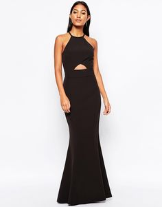 Jarlo Elenora Maxi Dress with Cut Out Detail and Flared Skirt