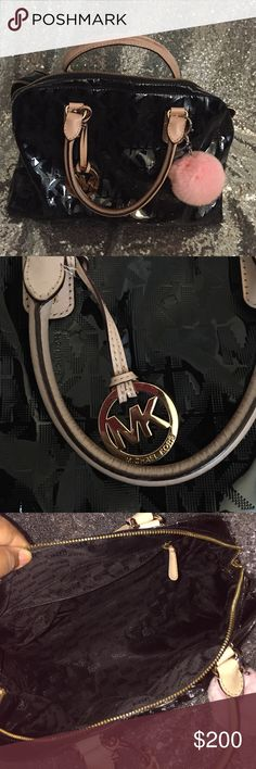 Authentic Michael Kors Purse with fur Keychain Authentic patent leather purse **ask for special price Michael Kors Bags Satchels