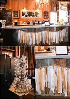 Maybe use the garland to decorate the stair railings and tie it into the ceremony backdrop?