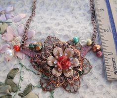 Necklace Vintage Large Flowers and rhinestones, pearls , glass beads Chain and most parts are Brass by BEEBSCLOSET on Etsy