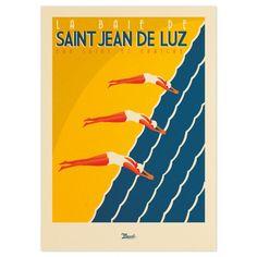 """Affiche Illustration Originale Saint Jean de Luz """"Eau Saine et… Vintage Beach Posters, Vintage Swim, Marcel, Art Et Architecture, Web Design, Travel Nursing, Parasol, Tourism, Surfing"""