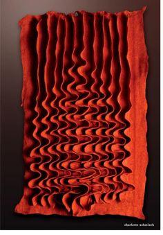 Felt manipulation by Charlotte Sehmisch Fabric Manipulation Techniques, Textiles Techniques, Sewing Techniques, Textile Texture, Textile Fiber Art, Origami Fashion, Pot Pourri, Nuno Felting, Felt Art