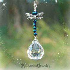 ddb116516b8d6 Blue Iris Dragonfly Crystal Suncatcher Rearview Mirror Car Sininho