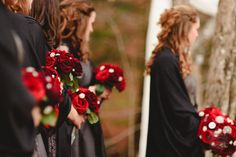 grey, red and black wedding colors.  DIY Brooch bouquets.  Florals by afloral.com photo by ariusphoto.com