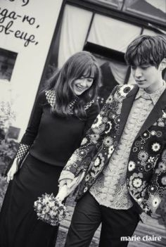 Soon-to-wed actress Gu Hye-sun and actor Ahn Jae-hyun released their wedding photos taken on Korea's offshore vacation spot Jejudo Island on Friday via Marie Claire magazine's official website. New Actors, Actors & Actresses, Asian Actors, Korean Actors, Gu Hye Sun, Cinderella And Four Knights, Hye Sung, Ahn Jae Hyun And Goo Hye Sun, Kdrama
