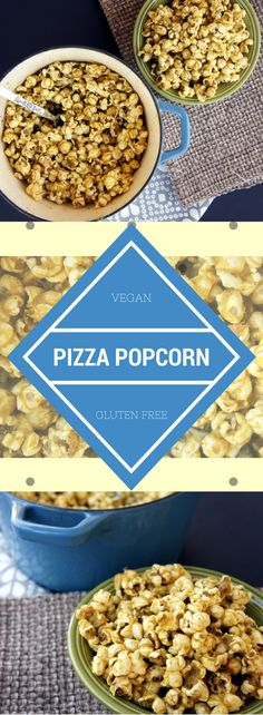 Vegan pizza popcorn made with nutritional yeast, olive oil, garlic, and oregano. Simple and perfect for a delicious movie night.