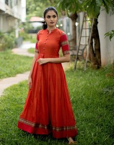 Orange Narayanpet Box Pleat Gown - Whats New Source by dresses indian Long Dress Design, Stylish Dress Designs, Stylish Dresses, Fashion Dresses, Box Pleated Dress, Long Gown Dress, Green Midi Dress, Long Dresses, Long Gowns