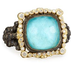 Armenta Old World Midnight Cushion-Cut Doublet Ring with Diamonds ($3,935) ❤ liked on Polyvore featuring jewelry, rings, blue turquoise, bead jewellery, diamond rings, cushion cut ring, cushion cut diamond ring and 18k diamond ring