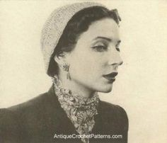 Hat and Ascot ~ Antique Crochet Patterns
